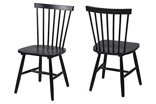 AC Design Furniture 63661 Esszimmerstuhl Susanne, Rubberwood, 2-er Set, schwarz lackiert
