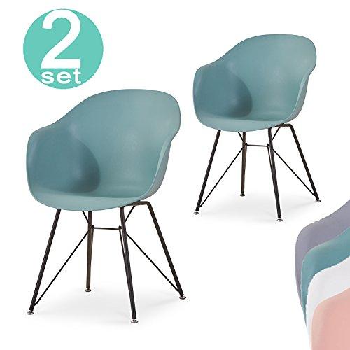 Lima Esszimmerstühle 2er set | Polypropylen und Metall retro design | Büro Lounge Küche Wohnzimmer | Mintgrün - Damiware (Mintgrün)