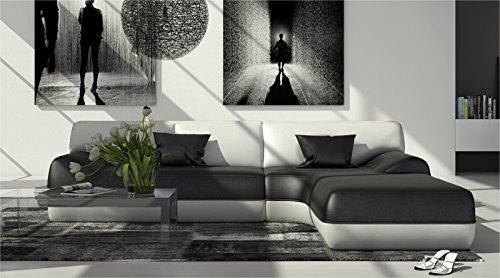 SAM® Design Ecksofa Sofagarnitur Impulso rechts in schwarz / weiß 260 x 220 cm Couch komplett bezogen Garnitur Sofalandschaft in schwarz mit weißen Akzenten inklusive Sofa Kissen