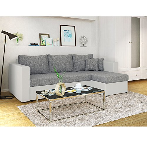 ecksofa mit schlaffunktion grau wei stellma 224 x 144 cm liegema 200 x 140 cm sofa. Black Bedroom Furniture Sets. Home Design Ideas