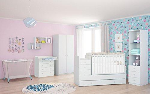 Polini Kids Kinderzimmer Kombi-Bett mit Wickelkommode und Matratze