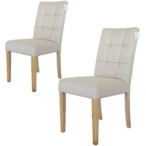 Paris Esszimmerstühle 2er set | Stoff Baumwolle-leinen - Eschenholz Beinen | Beige - weiß Wäsche - Damiware