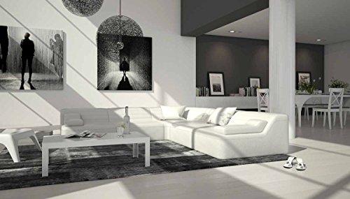 Polster-Ecke mit Kunstleder Bezug weiß 270x270 cm | Catoca-L | Design Sofa-Garnitur in L-Form | Eck-Sofa für Wohnzimmer weiss 270cm x 270cm