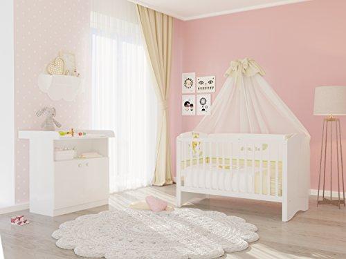 Polini Kids Kinderzimmer Set Babybett Kinderbett Kombi-Kinderbett mit Wickelkommode