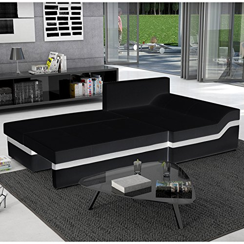 innocent ecksofa mit schlaffunktion und ottomane aus kunstleder schwarz wei e linie bodoni. Black Bedroom Furniture Sets. Home Design Ideas