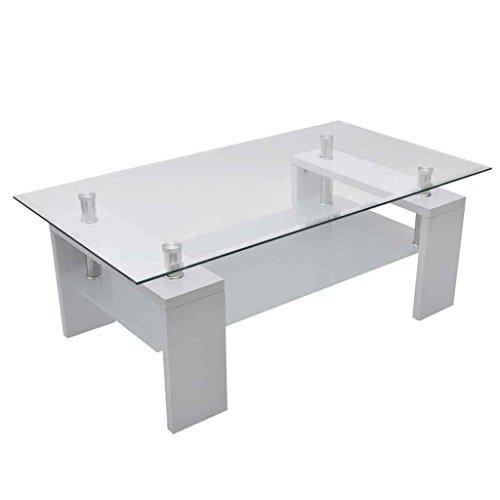 vidaXL Couchtisch Glastisch Beistelltisch Tisch weiß Wohnzimmertisch Glastisch Platte