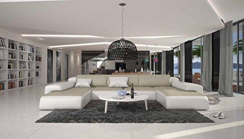 Wohn-Landschaft XXL mit creme / weißem Kunstleder 400x250 cm U-Form   Relas-U   Design Sofa-Garnitur aus hochwertigem Kunstleder   Polster-Ecke XXL für Wohnzimmer creme / weiss 400cm x 250cm