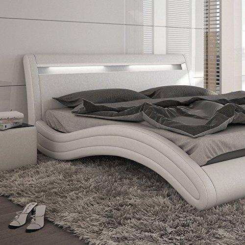 innocent polsterbett kunstleder mit led beleuchtung misani wei 160x200 cm m bel24. Black Bedroom Furniture Sets. Home Design Ideas
