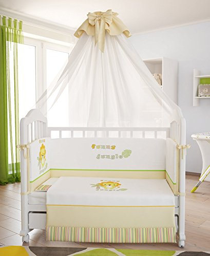 "Polini Kids Baby Bettwäsche-Set Bett-Set 120x60 cm ""Funny Jungle"" (7 tlg)"