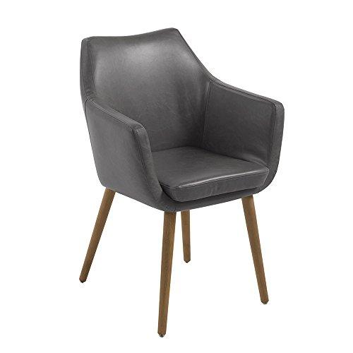 AC Design Furniture 59098 Armstuhl Trine, 58 x 58 x 84 cm, Sitz/Rücken lederlook vintage hell grau PU