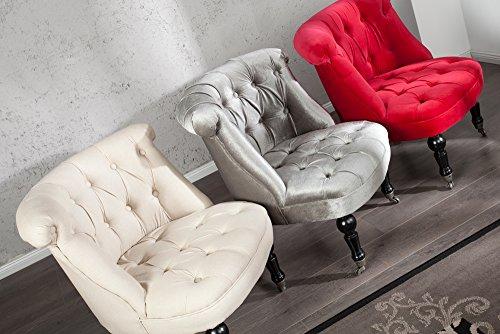 Stylischer Design Sessel JOSEPHINE Leinen silber grau Stoff Wohnzimmersessel Esszimmerstuhl hohe Rückenlehne im Barock Stil mit Rollen
