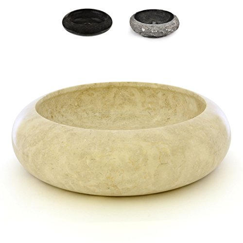 DIVERO Marmor Naturstein Aufsatz-Waschbecken Rimini Handwaschbecken Waschschale Stein poliert rund beige creme