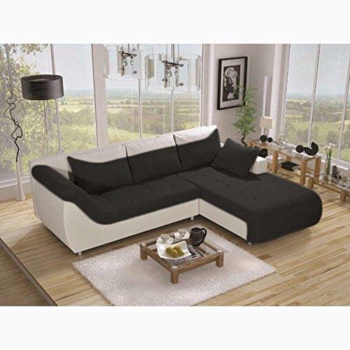 justyou linea ecksofa polsterecke schlafsofa kunstwildleder kunstleder wei schwarz hxbxl. Black Bedroom Furniture Sets. Home Design Ideas