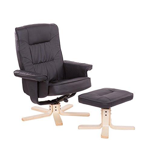 Fernsehsessel mit Hocker und Armlehnen - Design Relax-Sessel Wohnzimmer verstellbarer TV Sessel aus Kunstleder schwarz