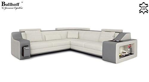 ecksofa xxl polsterecke leder wei grau berlin ii m bel24. Black Bedroom Furniture Sets. Home Design Ideas