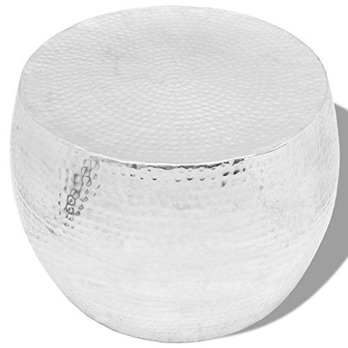 vidaXL Design Couchtisch Kaffeetisch Beistelltisch Hammerschlag Silber Aluminium