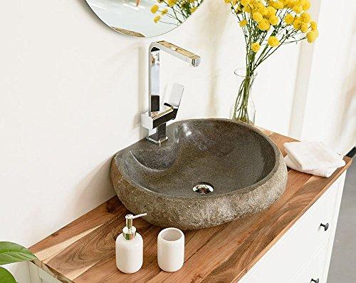 WOHNFREUDEN Naturstein Waschbecken rund oval 50 cm poliert ✓ Stein Aufsatzwaschbecken für Gäste WC Bad ✓ Stein-Handwaschbecken für Waschplatz ✓ schnell und versandkostenfrei ✓