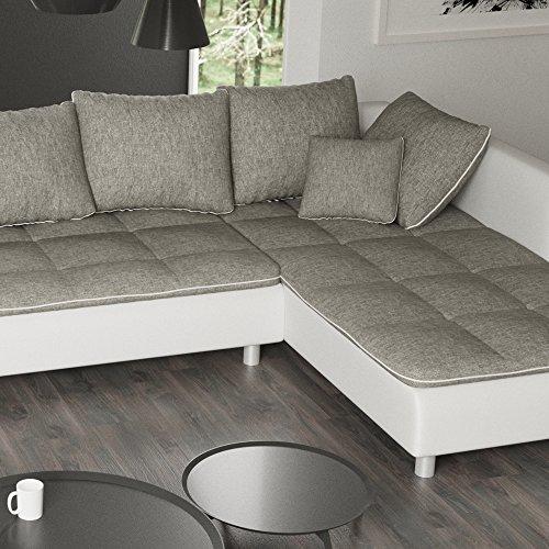 sofa polsterecke vivara wei strukturstoff grau ecksofa von jalano wohnlandschaft u form. Black Bedroom Furniture Sets. Home Design Ideas