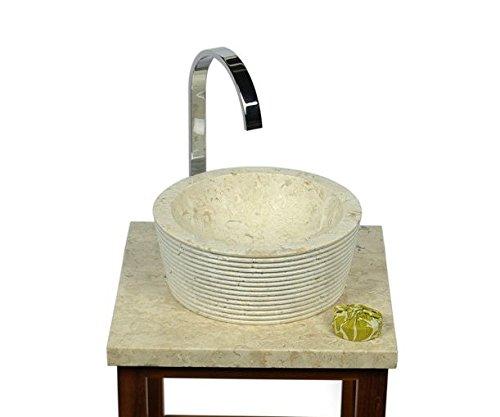Marmor Waschbecken MINIJAYA 30 cm creme - Naturstein Waschschale Handwaschbecken rund gehämmert für Bad Gäste WC - inkl. techn. Zeichnung - Stein Granit Findling Flussstein