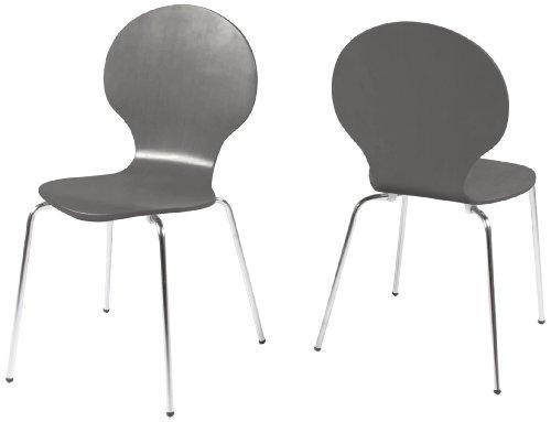 AC Design Furniture H000009171 Esszimmerstuhl 4-er Set Jacob, Design Klassiker, grau