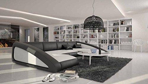 Wohn-Landschaft XXL mit Kunstleder Bezug in weiß / schwarz 355x245 cm   Sanassi   Design Couch-Garnitur XXL Recamiere links   Polster-Ecke für Wohnzimmer weiss / schwarz 355cm x 245cm