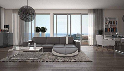 Polster-Ecke mit Kunstleder Bezug grau / weiß 275x210 cm   Gallini   Design Sofa-Garnitur in L-Form Recamiere rechts   Eck-Sofa für Wohnzimmer grau / weiss 275cm x 210cm