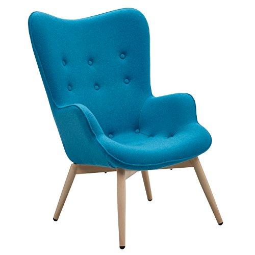 Designer ohren sessel petrol mit armlehnen aus webstoff for Sessel quietscht