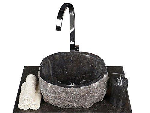 WOHNFREUDEN Naturstein Marmor Aufsatz-Waschbecken 30 cm schwar-grau Gäste WC Bad