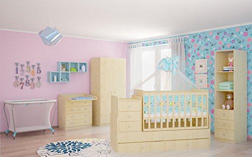 Polini Kids Babyzimmer Kinderzimmer komplett Set Ahorn/Natur 4-teilig mit Babybett/Kinderbett/Juniorbett, Wickelkommode, Kinderkleiderschrank, Standregal