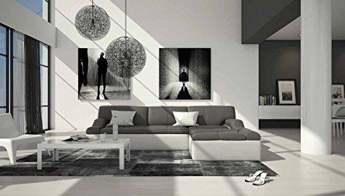 Polster-Ecke mit Kunstleder Bezug grau / weiß 240x235 cm   Varegua-L   Design Sofa-Garnitur in L-Form Recamiere rechts   Eck-Couch für Wohnzimmer grau / weiss 240cm x 235cm