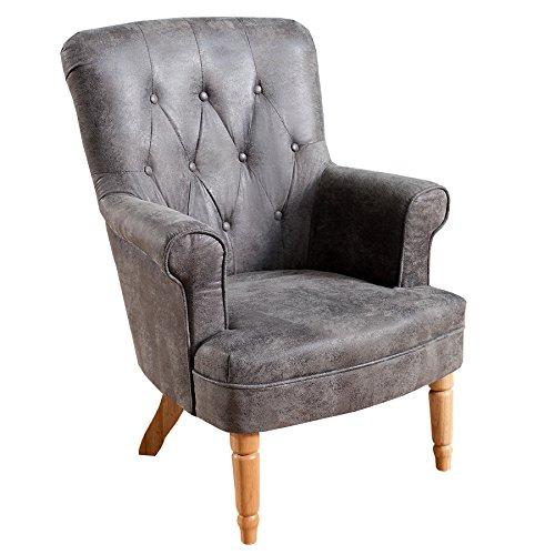 Design Sessel CONTESSA im Chesterfield Design grau Polstersessel Armlehnensessel Wohnzimmersessel