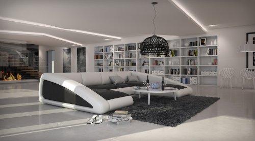 SAM® Sofa Garnitur schwarz / weiß / weiß Ciao rechts 205 x 355 x 250 cm designed by Ricardo Paolo Wohnlandschaft futuristisch Wohnzimmer Sofa Landschaft pflegeleichte Oberfläche