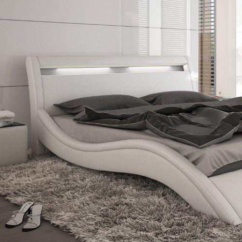 innocent polsterbett kunstleder mit led beleuchtung modani wei 160x200 cm m bel24 shop xxxl. Black Bedroom Furniture Sets. Home Design Ideas