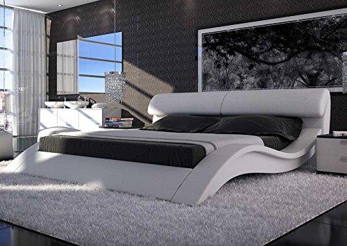 SAM® Polsterbett Innocent Bett Allure in Weiß 140 x 200 cm geschwungene Seitenteile Kopfteil aufklappbar modernes Design Wasserbett geeignet