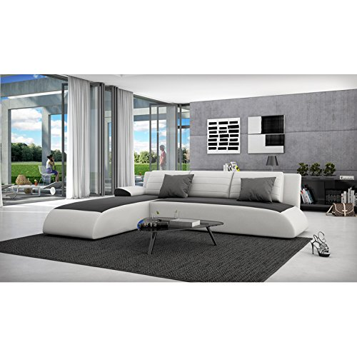innocent ecksofa mit schlaffunktion aus kunstleder wei mit schwarzer sitzfl che movia 1. Black Bedroom Furniture Sets. Home Design Ideas