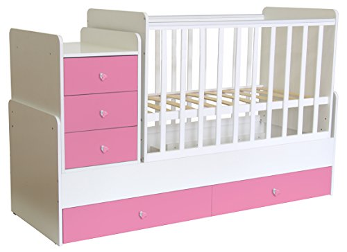 Polini Kids mitwachsendes Baby Kinder Kombi-Kinderbett Simple 1100 mit Kommode (Weiß Rosa)