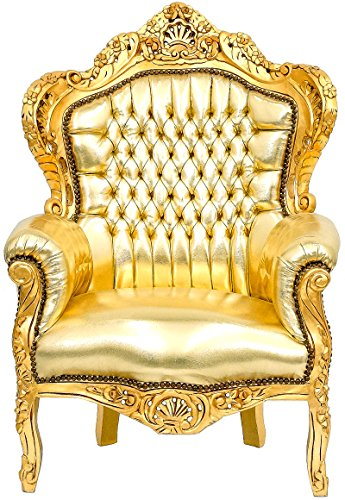 Barock-Design Sessel Massivholz Loungesessel Antik-Stil gold