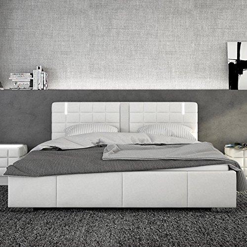 Innocent Polsterbett aus Kunstleder weiß 180x200cm mit LED und Lautsprecher Century mit Lattenrost