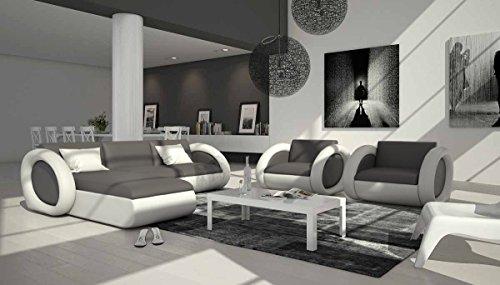 Polster-Ecke mit Kunstleder Bezug grau / weiß 230x173 cm   Nassiono-L   Design Sofa-Garnitur in L-Form Recamiere links   Eck-Sofa für Wohnzimmer grau / weiss 230cm x 173cm