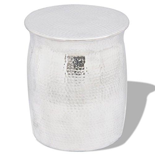 vidaXL Aluminium Hocker Beistelltisch Couchtisch Sofa Loungetisch Wohnzimmer Silber