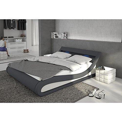 Polster-Bett 180x200 cm dunkelgrau-weiß aus Stoff und Kunstleder Kombi mit LED-Beleuchtung | Bellugia | Das Stoff-Bett ist ein Designer-Bett | Doppel-Betten 180 cm x 200 cm mit Lattenrost in Textil, Made in EU