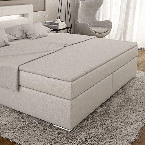 dalian boxspringbett 180 200 cm wei es polster bett in leder optik mit integrierter led. Black Bedroom Furniture Sets. Home Design Ideas