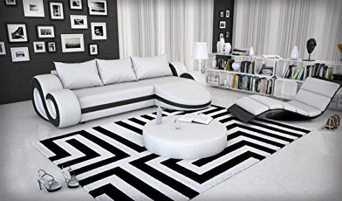 Eck-Sofa mit LED-Beleuchtung und Kunstleder Bezug weiß / schwarz 290x160 cm L-Form   Ocean   Moderne Sofa-Garnitur mit Recamiere   Design Polster-Couch für Wohnzimmer weiss / schwarz 290x 160cm