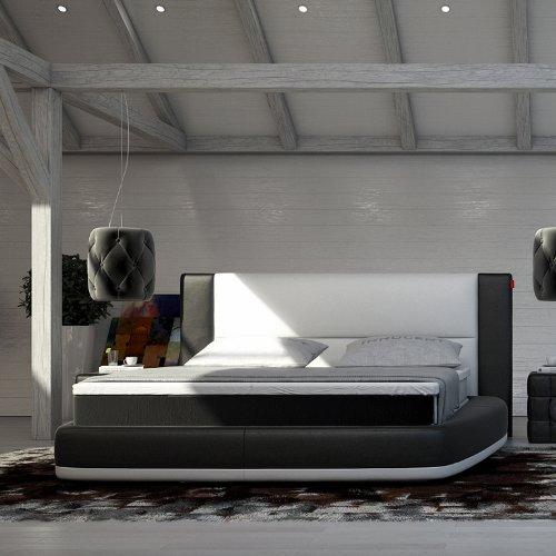 Innocent Boxspringbett aus Kunstleder weiß / schwarz Bloom B 140 x L 200 cm