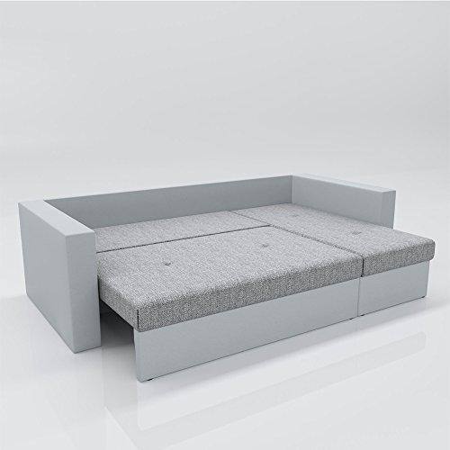 ecksofa mit schlaffunktion grau wei stellma 224 x 144 cm liegema 200 x 140 cm sofa. Black Bedroom Furniture Sets. Home Design Ideas