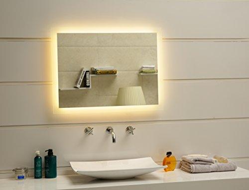 Dr. Fleischmann Badspiegel LED Spiegel GS084N mit Beleuchtung durch satinierte Lichtflächen Badezimmerspiegel (80 x 60 cm, warmweiß)