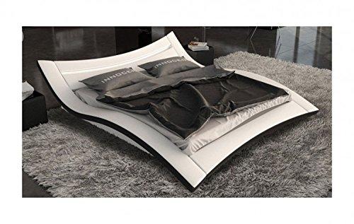Seducce Designerbett 140x200 cm Doppelbett / Futonbett / Bett / Polsterbett Kunstleder weiß