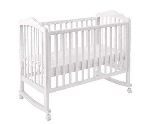 Polini Kids Kinderbett Gitterbett Babybett Classic 621 aus Massivholz Lackiert in verschiedenen Farben (weiß)