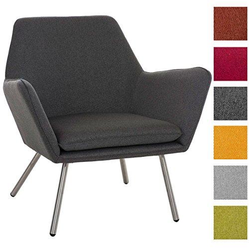 CLP Design Edelstahl Lounge-Sessel CARACAS, Stoffbezug, Polsterstärke 6 cm, Sitzhöhe 40 cm Dunkelgrau