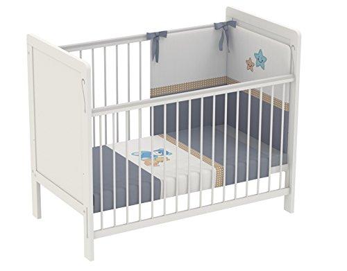 Polini Kids Babybett Gitterbett Beistellbett mit verstellbarem Gitter 120x60 Simple 220 in weiß ,3037-04